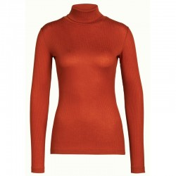 ROLLNECK TOP TENCEL RIB BRUNETTE BROWN