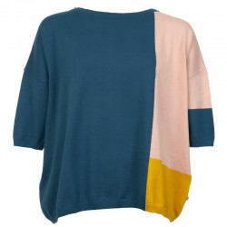 SWEATER AKI INDIAN BLUE-PINK SAND-CURRY