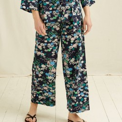 V&A FLORAL PRINT TROUSERS NAVY