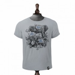 DIRTY VELVET ANIMAL ACTIVISTS T-SHIRT HIGHRISE GREY