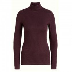 KING LOUIE ROLLNECK TOP UNI RIB TENCEL GRAPE RED
