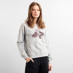 DEDICATED SWEATSHIRT YSTAD RAGLAN CONE BIRD GREY MELANGE