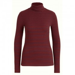 ROLLNECK TOP TWEEDY STRIPE BLUE