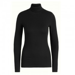 ROLLNECK TOP UNI RIB TENCEL BLACK