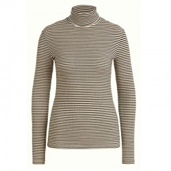 ROLLNECK TOP TWEEDY STRIPE BLACK