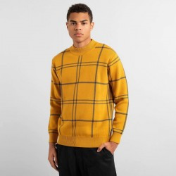 DEDICATED TRYSIL SWEATER BIG CHECK GOLDEN YELLOW