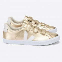 3-LOCK LEATHER PLATINE WHITE VEJA