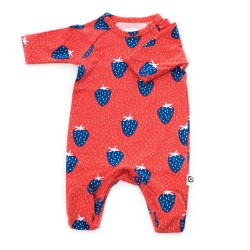 FROY & DIND JUMPSUIT OTTO WITH FEET STRAWBERRY