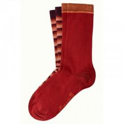 SOCKS X2 PACK FLATLINER GRAPE RED