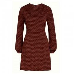 POLLY DRESS EARL GREY BRUNETTE BROWN
