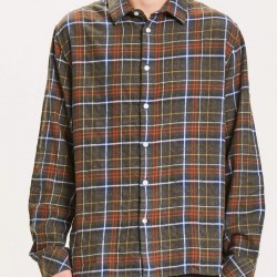 LARCH REGULAR SMALL CHECK FLANNEL SHIRT 1090 FORREST NIGHT