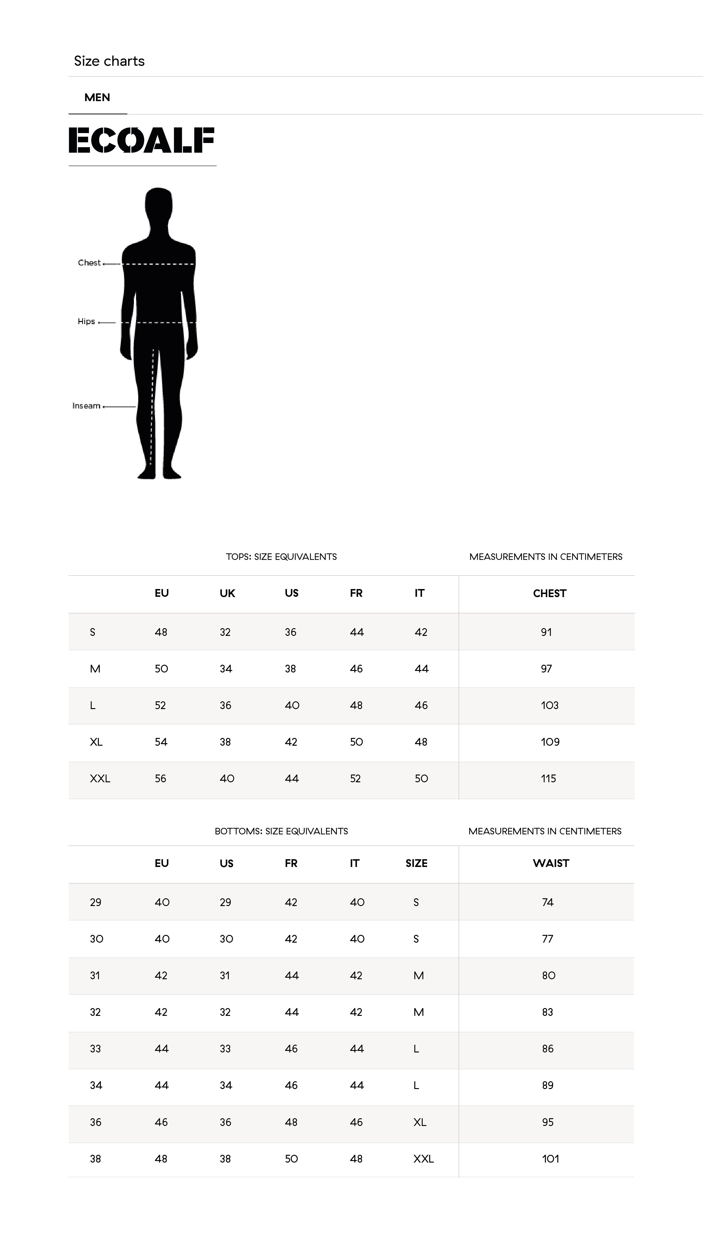 guide taille homme ecoalf