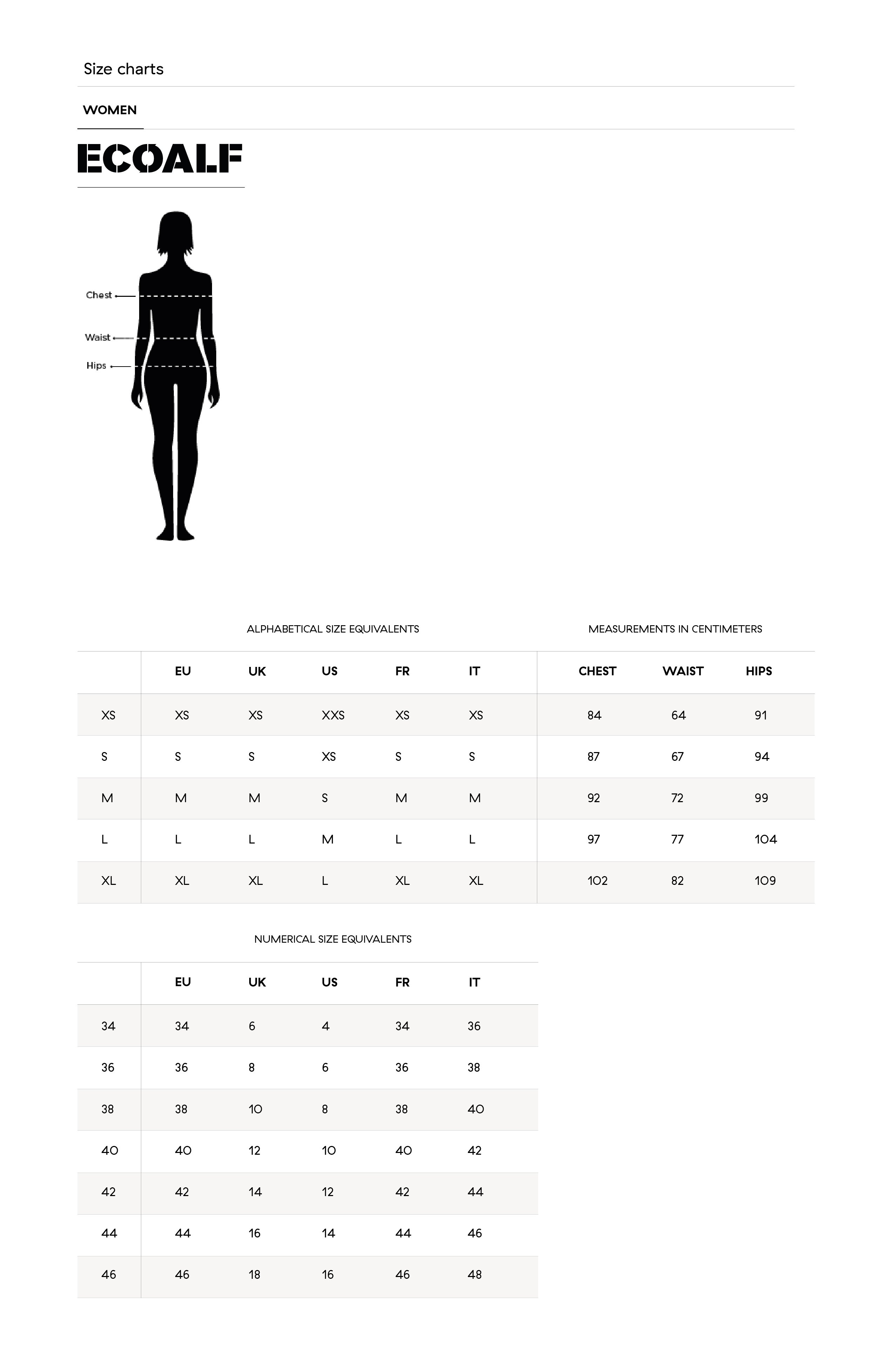 guide taille femme ecoalf